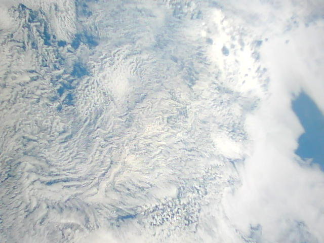 Picture of clouds taken from the VTC CubeSat